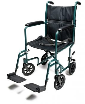 "W/C TRANS CHAIR GREEN ALUM 17"" E&J"