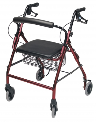 ROLLATOR ALUM WIDE BURGUNDY WALKABOUT WIDE