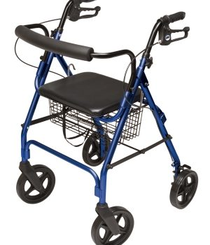 "ROLLATOR ALUM CURV BR BLUE 8"" WHL, PADDED SEAT, LUMEX"