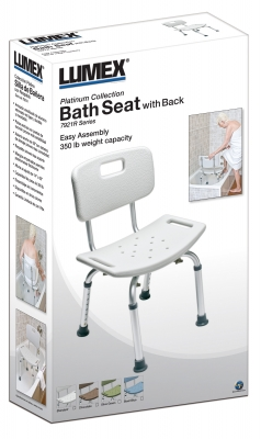 BATH SEAT W/ BACK RETAIL LUMEX, UNASSEMBLED