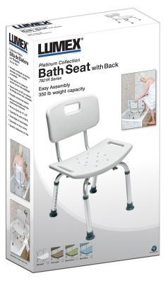 BATH SEAT W/ BACK RETAIL LUMEX, UNASSEMBLED
